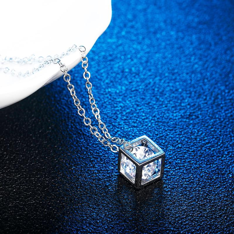 Square Cube Necklace&Pendant Crystal Long Statement Chain Necklace Jewelry For Women Cubicintothea-intothea