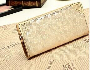 Luxury Famous Brand Clutch Bag Gold Silver PU Leather Female Money Walletsintothea-intothea