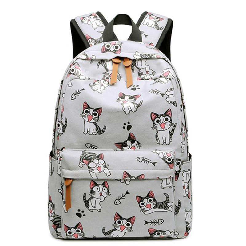 Cute Canvas Women Backpack Kawaii Flamingos Animal Pattern Printing Girls Bookbags Collegeintothea-intothea