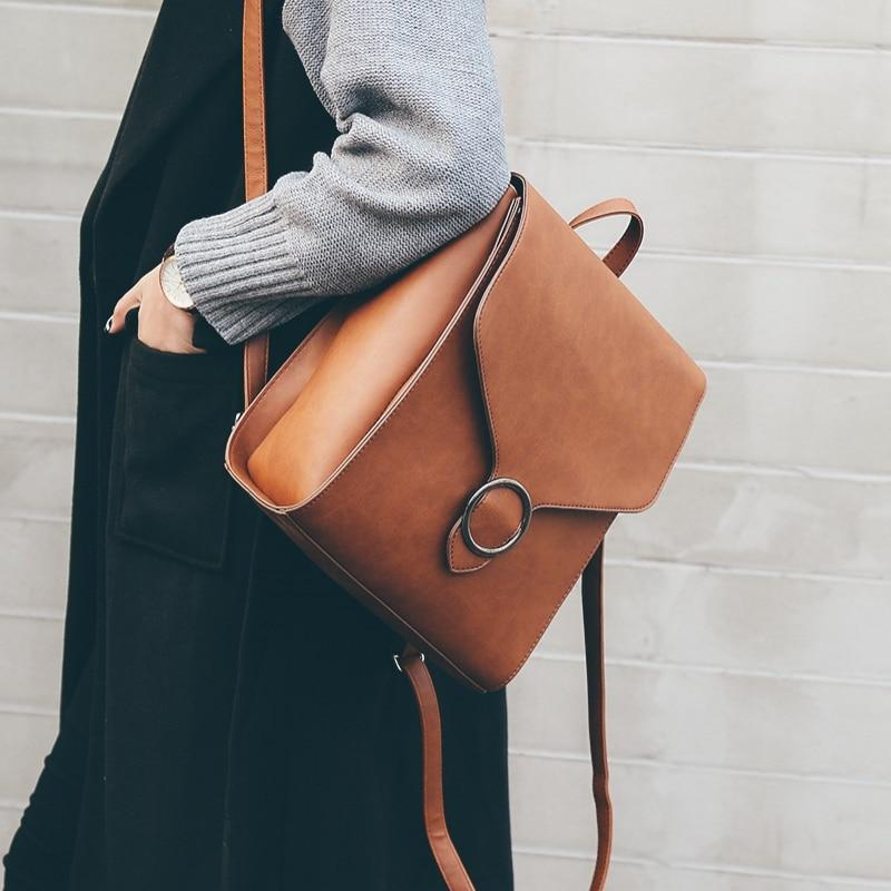 Fashion Women Backpack 2018 PU Leather Retro Female bag schoolbags Teenage Girlintothea-intothea