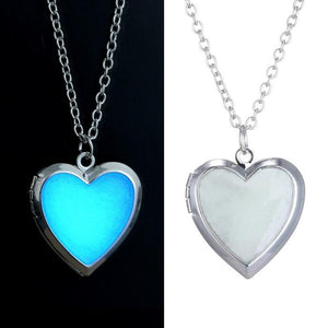 Glow in the Dark Necklace for women Photo Locket vintage Fluorescence heartintothea-intothea