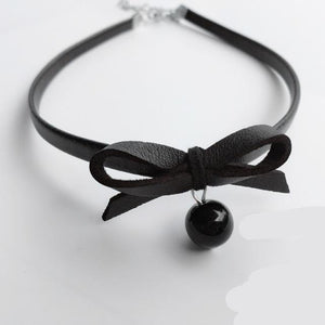 New Black PU Leather Choker Necklace Women Fashion Simulated Pearl Jewelry Bowintothea-intothea