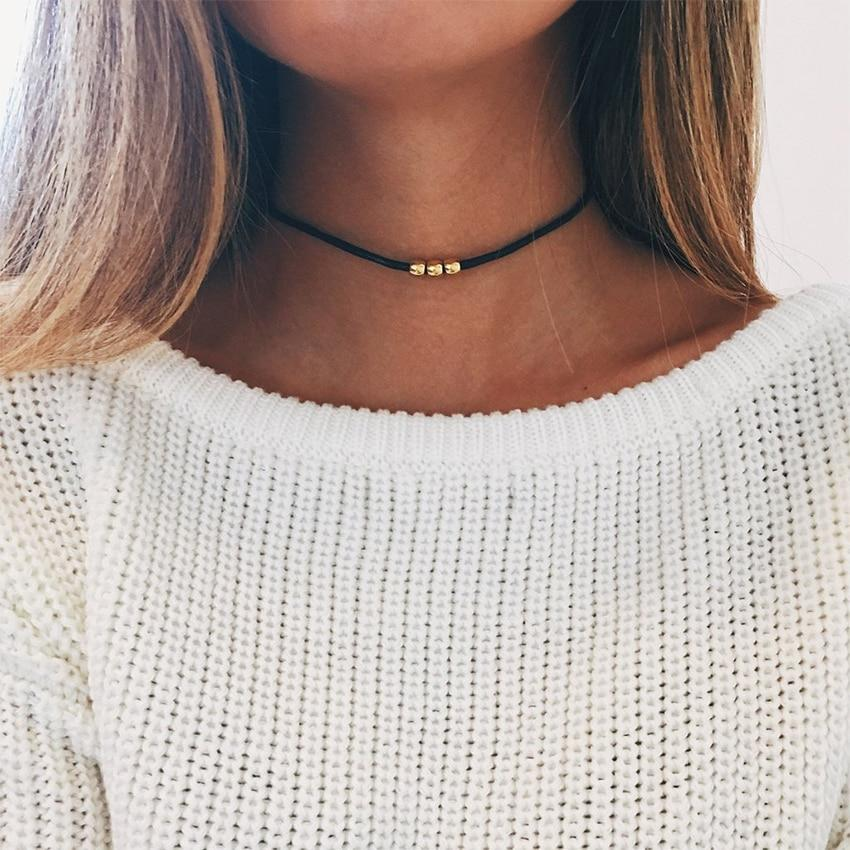 Simple Gold Beads Black Choker Necklace For Women Chocker Necklaces Charms collarintothea-intothea