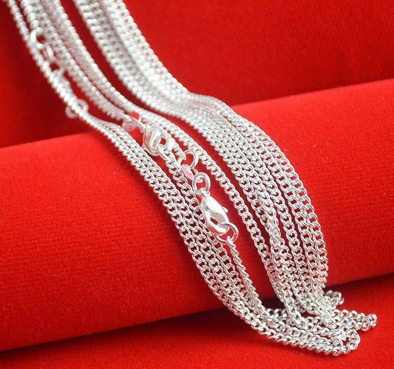 Hot Sale! 10pcs/lot Fashion Silver Necklace Chain,2mm 925 Jewelry Silver Plated Curbintothea-intothea
