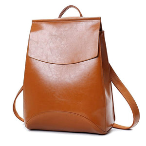 laptop Leather Backpack Women Backpacks For Teenage Girls School Bags Blackintothea-intothea