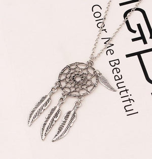 Trendy Style Dreamcatcher Pendant Mandala Lotus Necklace feather Stone Pendant Jewelry clavicleintothea-intothea