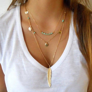 Feathers Bird Heart Necklace Punk Choker Collares Simple Gold Chain Necklace Collierintothea-intothea