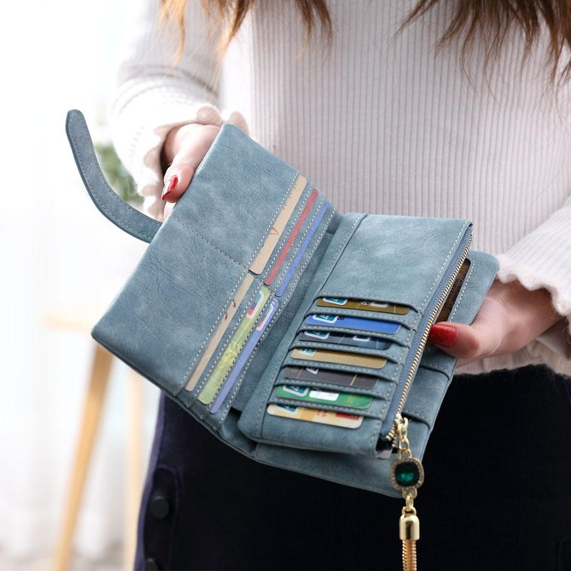 2018 Dull Polish Retro Leather Women Wallet Long Purse Vintage Solid Multipleintothea-intothea