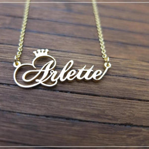 Personalized Name Crown Necklace Handmade Customized Cursive Font Nameplate Pendant Stainless Steelintothea-intothea