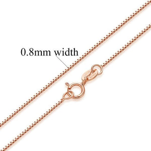 Women 100% Authentic Solid 925 Sterling Silver Box Chain Necklace Rose Goldintothea-intothea