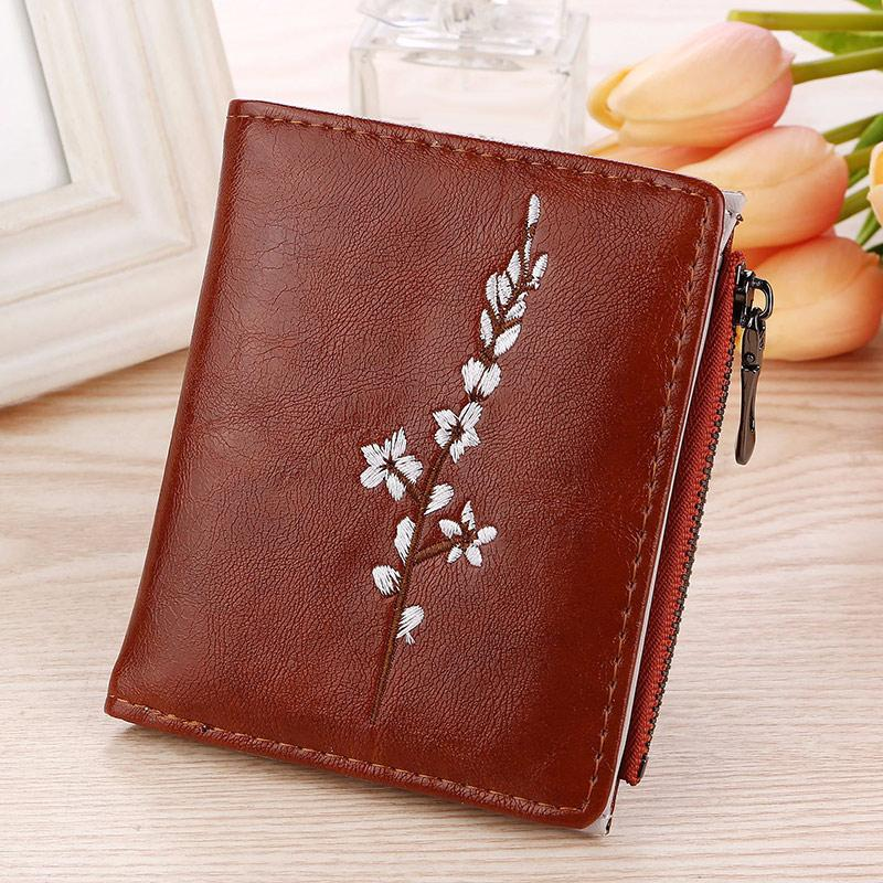 Women Hasp Zipper Short Wallet Embroidery Flowers PU Coin Purse Money Bagintothea-intothea
