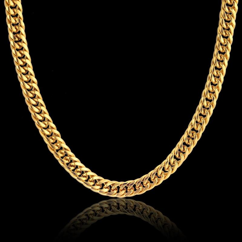 Gold Color Stainless Steel Collar Necklace 8MM Mens Gold Chain Necklace Maleintothea-intothea