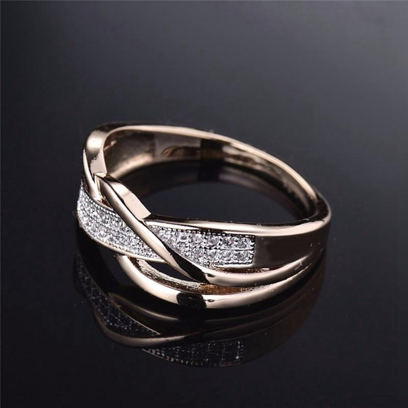 Rings For Women Valentine Present Fashion Spiral Crystal Gold-Color Mid Ringintothea-intothea