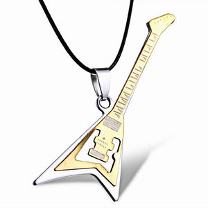 Fashion Necklaces Women Jewelry 361 L Stainless Steel Necklaces Gold Musical Guitarintothea-intothea