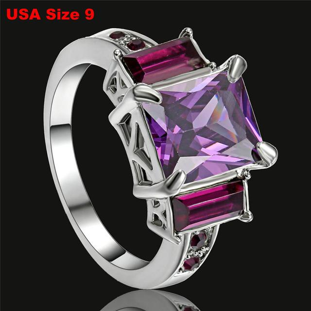 Gold Silver Color 8*10mm Mystic Rainbow Engagement Rings For Women AAA+ colorfulintothea-intothea