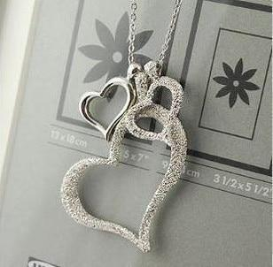 Fashion Elegant Design Dull Polish Heart Necklace For Female Silver Color 3intothea-intothea