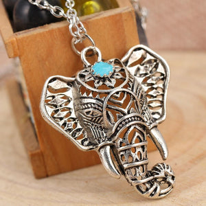 Gypsy Vintage Silver Elephant Pendant Necklace Chain Jewelry Gift 4ND112intothea-intothea