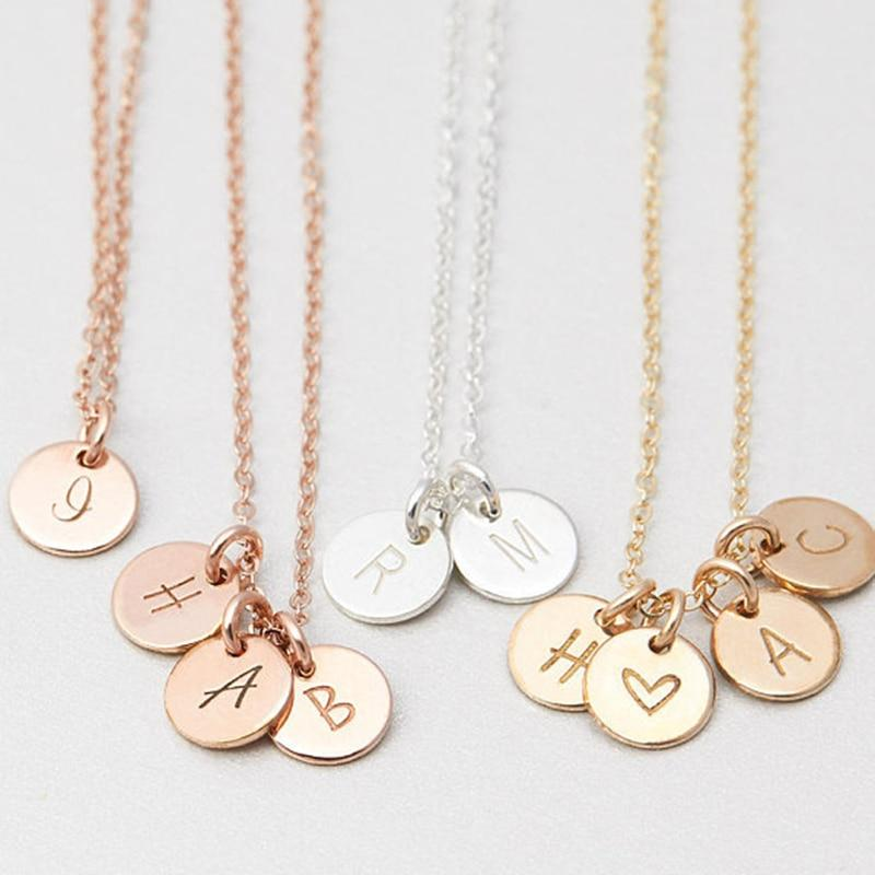 Personalized Letters Coins Necklace Handmade Custom Rose Gold Choker 7mm Pendant Collierintothea-intothea