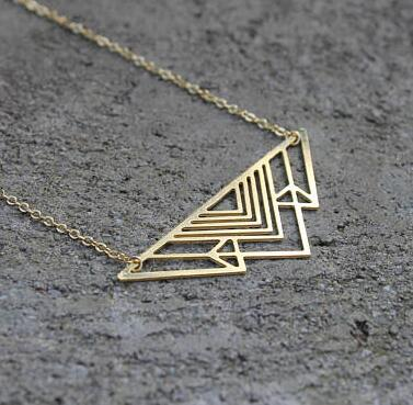 2018 Trendy Art Deco Triangle Necklace Mountain Charm Geometric Necklaces Women Jewelryintothea-intothea