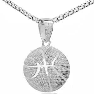 3D Basketball Necklaces Silver Color Pendant Sports Hip Hop Jewelry homme Stainlessintothea-intothea
