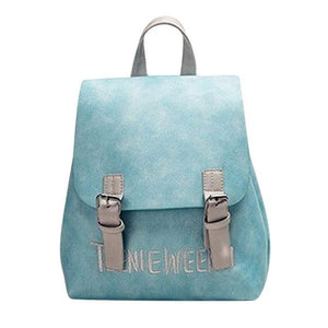 Women Preppy Chic Letter Embroidery Backpack Girls PU Leather School Bag Ladiesintothea-intothea