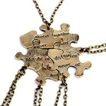 5pcs / set Gold bronze Creative puzzle Best Friend Necklaces Pendants Forintothea-intothea