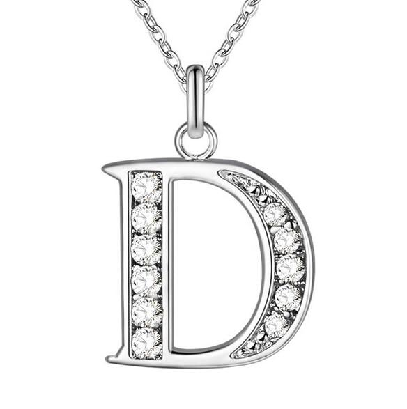 Fashion Letter Necklaces Pendants Silver Plated Stainless Steel Choker Initial Bling Crystalintothea-intothea
