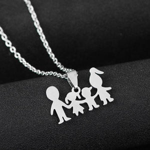 Family Love Son Daughter Necklaces Stainless Steel Heart Pendant Boys Girls Mothersintothea-intothea