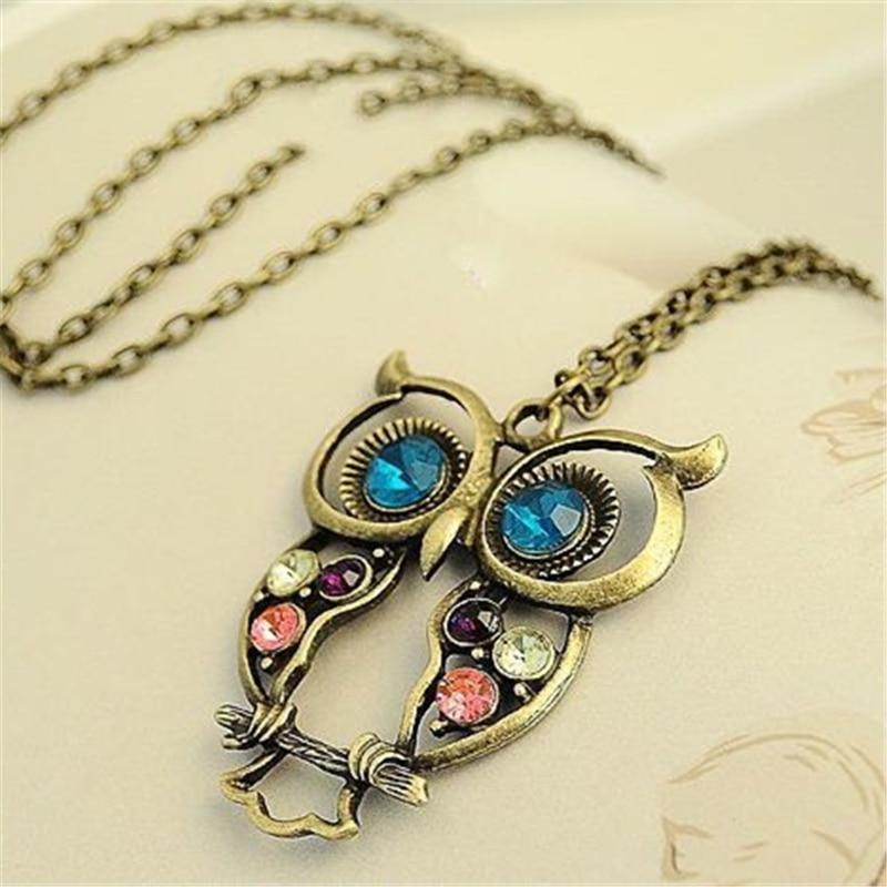2018 Hottest Fashion Vintage Retro Animal Blue Eyes Owl Hollow Color Crystalintothea-intothea