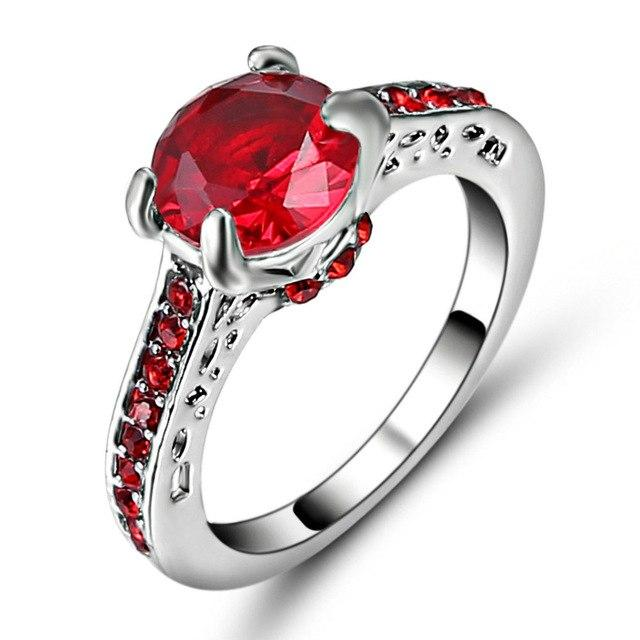 Female Red CZ Ring Fashion White & Black Gold Filled Jewelry Vintageintothea-intothea