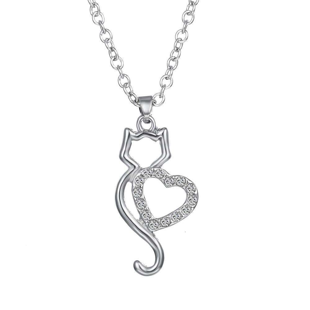 Fashion Silver Crystal Cat Necklace For Women Wedding Pendant Chain Jewelry Giftintothea-intothea