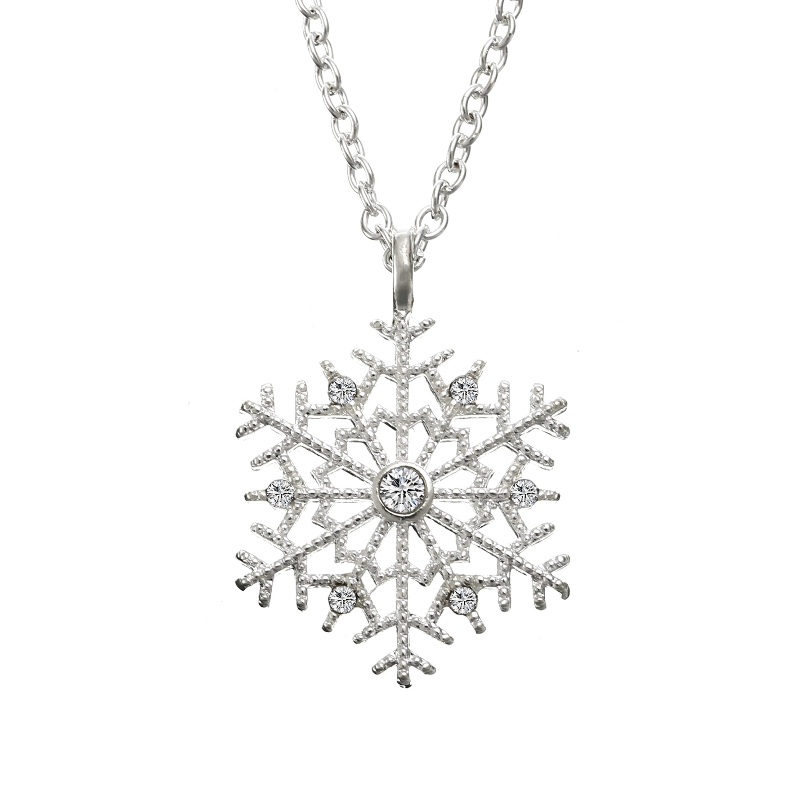 Luxury Crystal Snowflake Pendants&Necklaces Fashion Silver Plated Chain Necklace Gift For Womenintothea-intothea