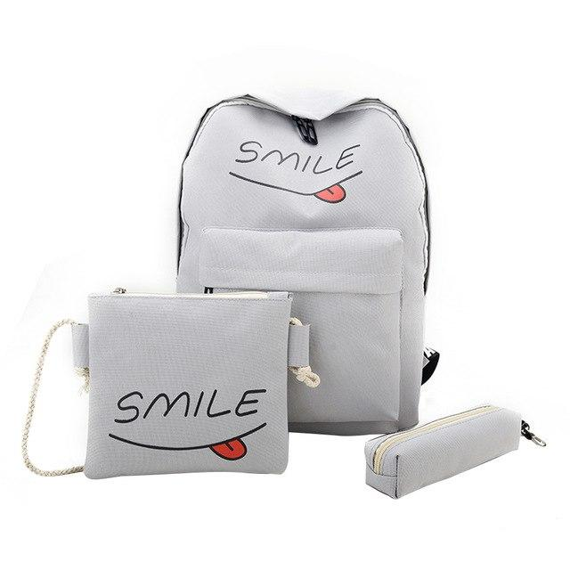 3pcs Women Canvas Casual Smile Letter Backpack Teenager Girls Lovely Pink Schoolintothea-intothea