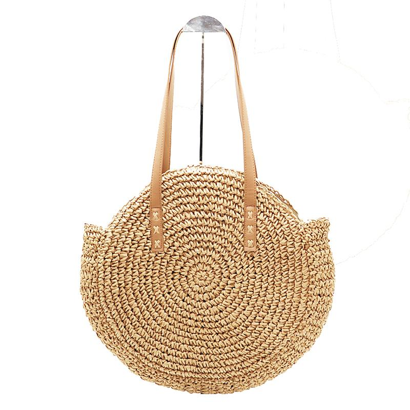 New Natural Lady Portable Tote Portable Large Straw Bag Round Pop Strawintothea-intothea