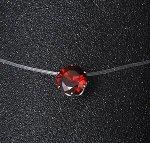 H1 Silver color Dazzling Zircon Necklace And Invisible Transparent Fishing Line Simpleintothea-intothea
