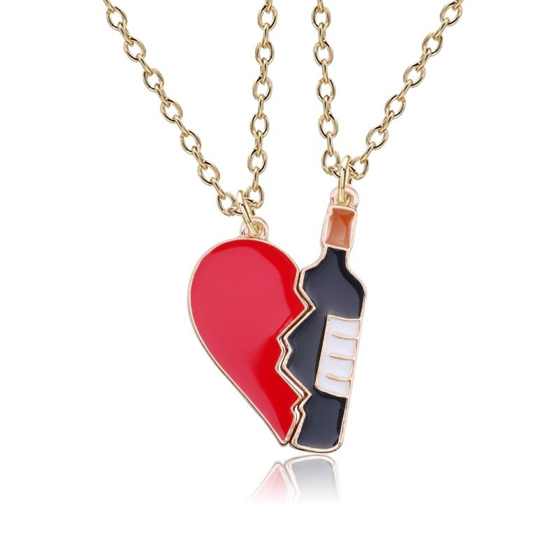 Trendy DIY Wine Bottle Neckalce Hip Hop Broken Heart Pendant 2Pcs/setintothea-intothea