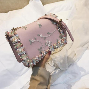 Lace Flowers Women bag 2018 New handbag High quality PU Leather Sweetintothea-intothea