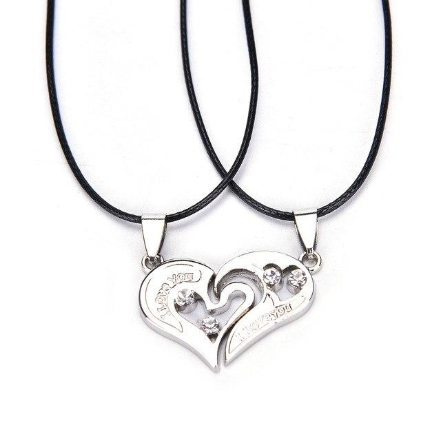 Stainless Steel Chain Black Heart Love Necklaces for Couples Korean Ladies Fashionintothea-intothea