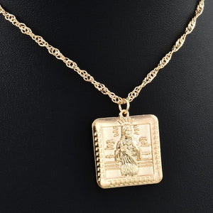 new Alloy Gold Color For Women Square human shape tag Pendant Necklaceintothea-intothea