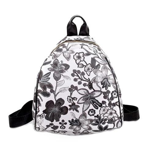 Summer Women PU Leather Floral Printed Backpack Teenager Girls Casual School Bagintothea-intothea
