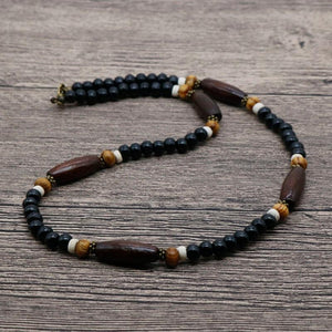 2018 Bohemia Men Tribal Chocker Necklace Boho Jewelry Wooden Beaded Surfer Necklaceintothea-intothea