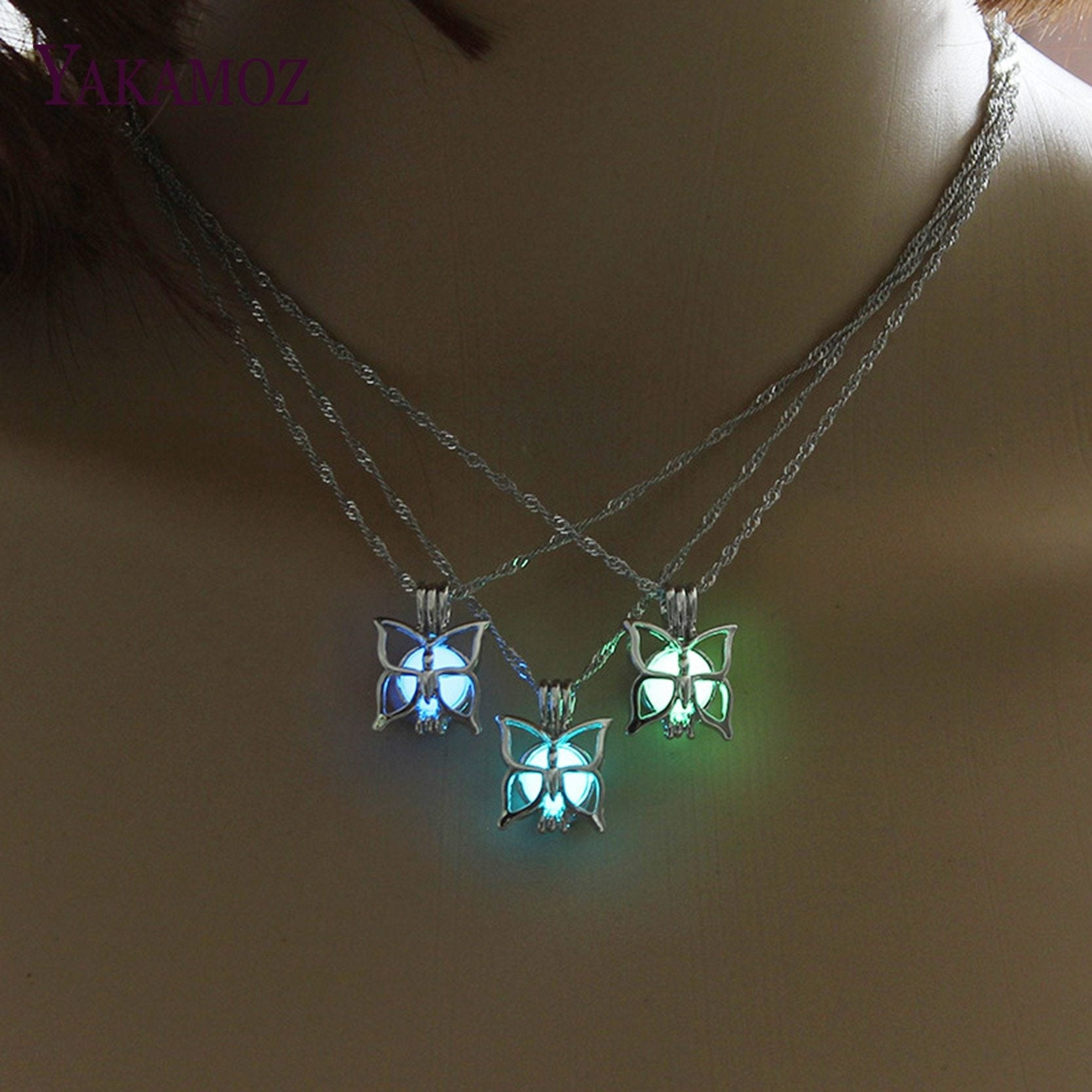 Cutest Butterfly Necklace Glow in the Dark 3 Colors Luminous Jewelry Charmintothea-intothea