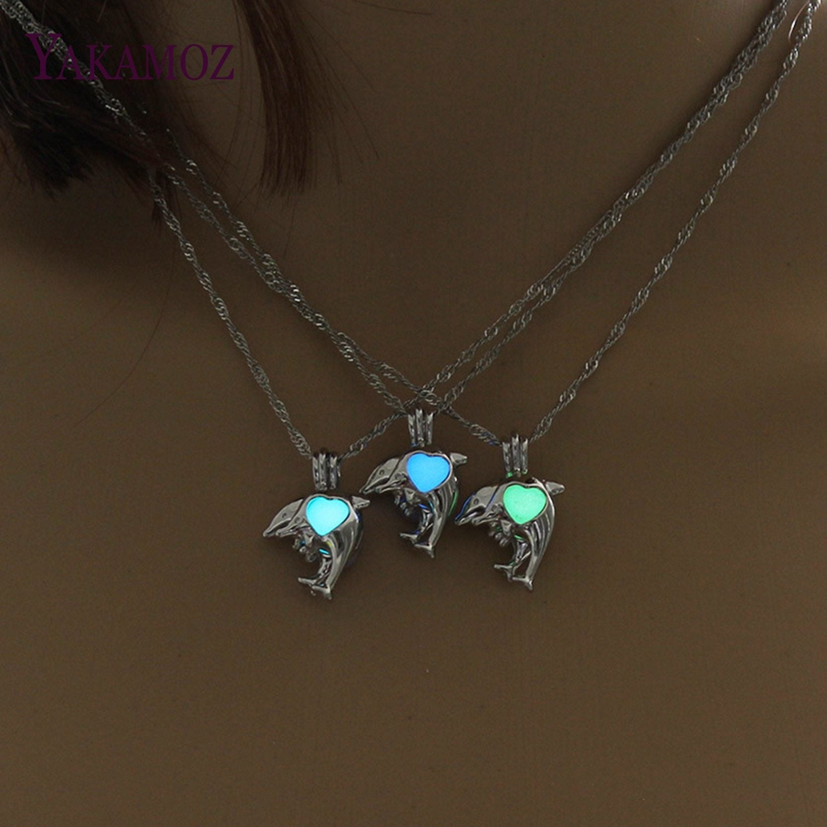 Silver Color Chain Dolphin Necklace Glow in the Dark Luminous Jewelry Charmintothea-intothea