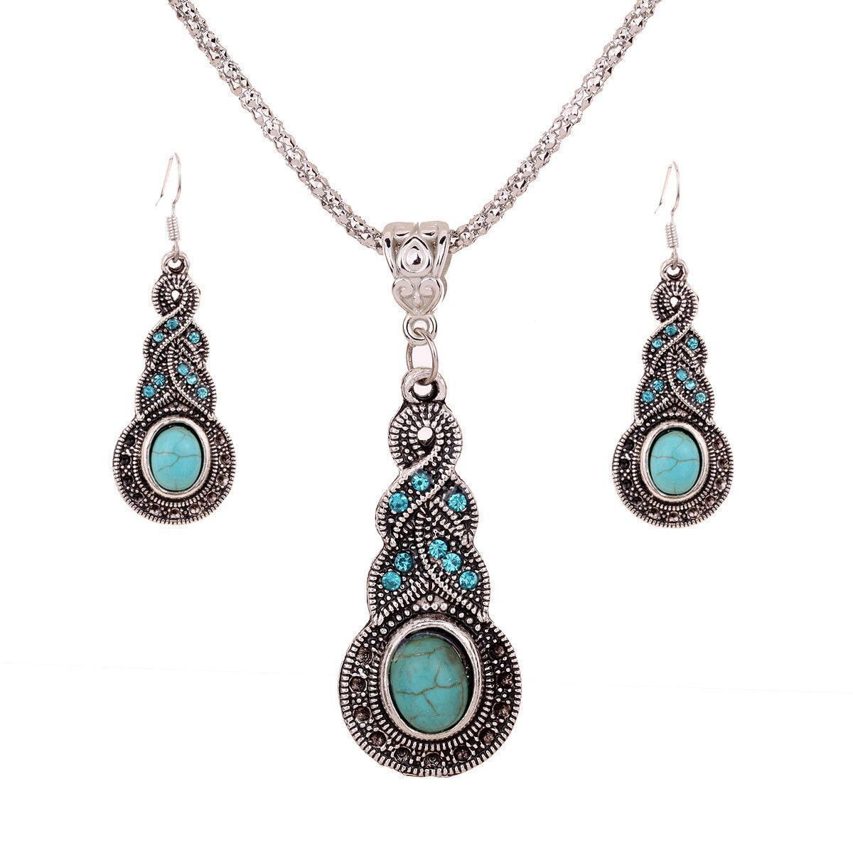 Fashion Jewelry Necklace Tears Retro Ethnic Necklace Set Wholesale Crystal Necklace Pendantintothea-intothea