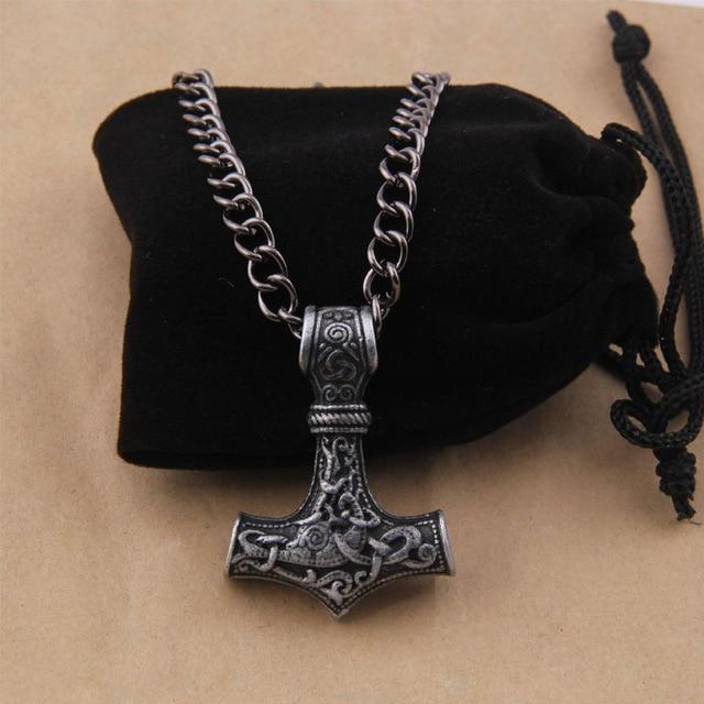 dropshipping 1pcs thor's hammer mjolnir pendant necklace viking scandinavian norse viking necklaceintothea-intothea