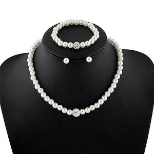 Classic Imitation Pearl necklace Gold-color jewelry set for women Clear Crystal intothea-intothea
