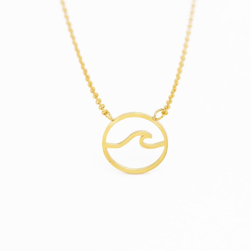 Ocean Wave Pendants Necklaces For Women Simple Jewelry Stainless Steel Chain Chokerintothea-intothea