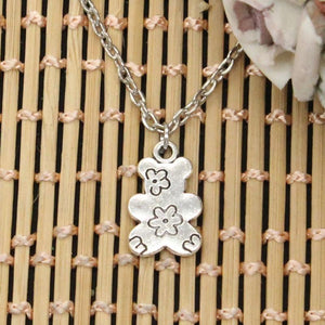 new fashion double sided flower bear Pendants round cross chain short longintothea-intothea