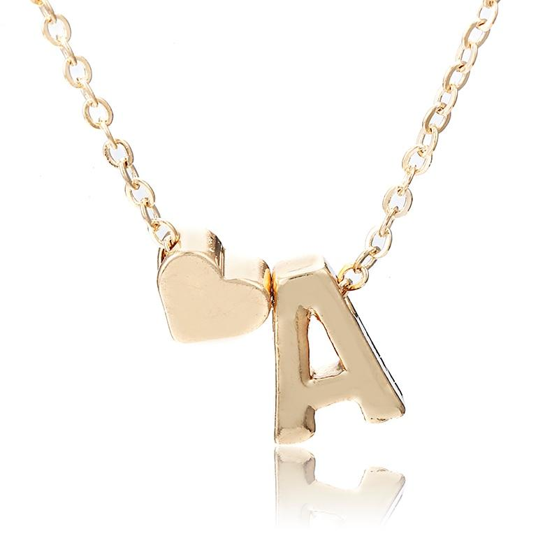 X146/X6 Trendy Gold Color Chain Rose Necklace For Women With Letter&Heart Pendantintothea-intothea