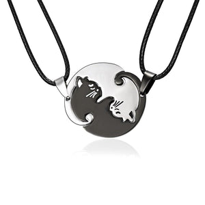 Fashion Couples Jewelry Necklace Pendant Black white Couple Necklaces Titanium Steel Animalintothea-intothea